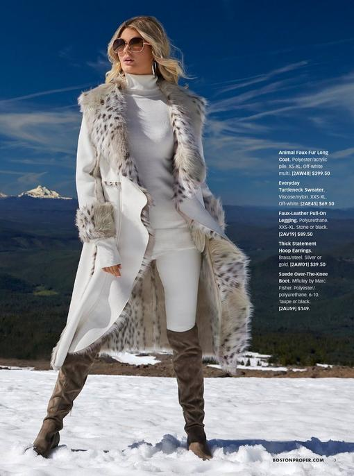 model wearing a white animal print faux fur long coat, white turtleneck sweater, white leather leggings, silver hoop earrings, sunglasses, and brown over-the-knee boots.