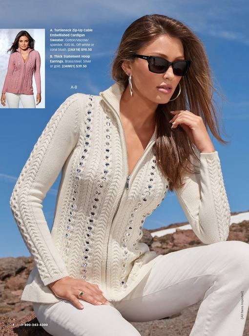model wearing an off-white zip-up sweater with rhinestone embellishments, white pants, silver hoop earrings, and sunglasses. sweater also shown in pink.