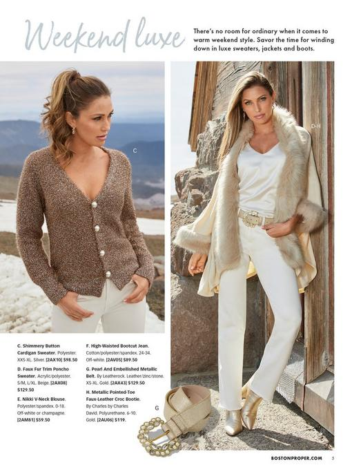 left model wearing a silver shimmery button down cardigan sweater and white pants. right model wearing a faux fur trim poncho sweater, white v-neck charm blouse, white bootcut jeans, gold croc booties, and gold jewel embellished belt.