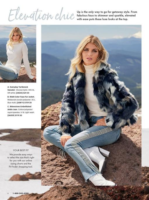 left model wearing a white turtleneck sweater and rhinestone embellished jeans. right model wearing a blue faux-fur jacket, white turtleneck sweater, and rhinestone embellished jeans.