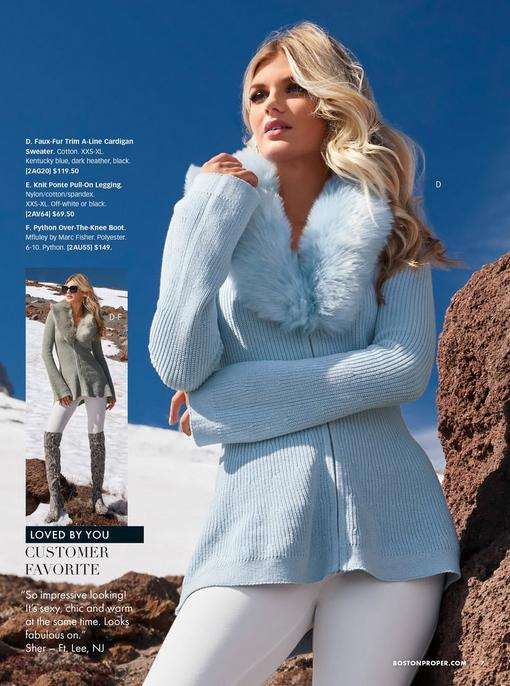 model wearing a light blue faux-fur trim a-line cardigan sweater, white leggings, and python over-the-knee boots. cardigan also shown in gray.