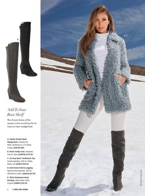 model wearing a light blue plush teddy coat, white turtleneck top, white leggings, black over-the-knee boots, an large silver hoop earrings. left panel shows the boots in gray and black.