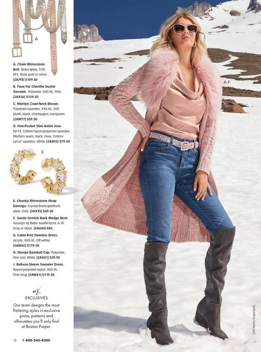 model wearing a blush faux-fur chenille duster sweater, blush cowl neck top, rose gold rhinestone belt, jeans, gold rhinestone hoop earrings, gray over-the-knee boots, and sunglasses. pull-out images of the rhinestone belt and the earrings.
