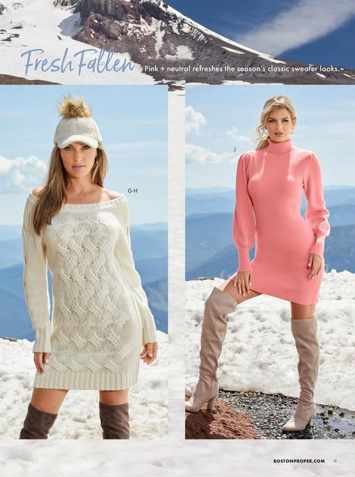left model wearing an off-white sherpa baseball cap with a faux fur pom, off-white off-the-shoulder cable knit sweater dress, and brown over-the-knee boots. right model wearing a pink turtleneck balloon sleeve sweater dress and beige over-the-knee boots.
