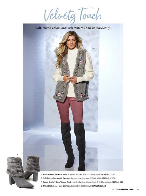model wearing a gray floral embroidered faux fur vest, white turtleneck sweater, pink velvet pants, and black over-the-knee boots. left image is that of gray faux-fur heeled booties.