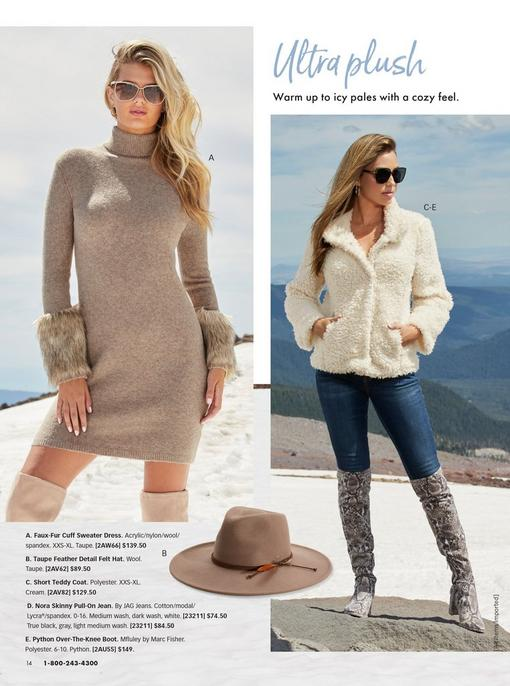 left model wearing a beige turtleneck sweater dress with faux fur cuffs and sunglasses. right model wearing a white short teddy coat, jeans, over-the-knee snakeskin print boots, and sunglasses. One pull-out image of a tan hat.