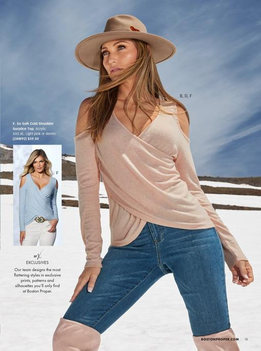 model wearing a pale pink surplice cold-shoulder long sleeve top, tan hat, jeans, and pale pink over-the-knee boots. top also shown in light blue.