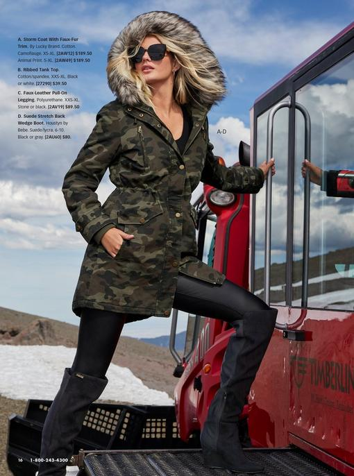 model wearing a camouflage coat with a faux-fur lined hood, black tank top, black leather leggings, black over-the-knee wedge boots, and sunglasses.