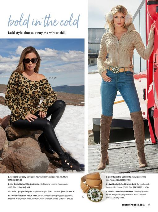 left model wearing an off-the-shoulder leopard print sweater, black leather leggings, black lace-up faux fur booties, and sunglasses. right model wearing a beige cable zip-up cardigan, jewel embellished beige belt, jeans, brown over-the-knee boots, and beige faux-fur earmuffs.