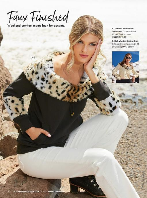 model wearing a black off-the-shoulder sweatshirt with leopard faux-fur details and white jeans. same sweatshirt shown in off-white.