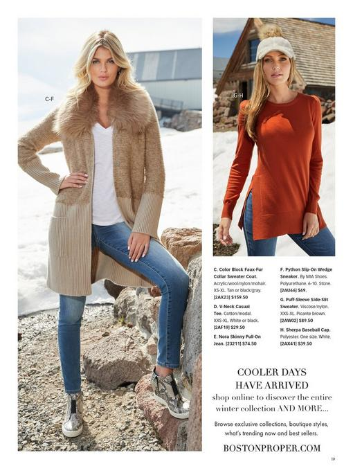 left model wearing a beige color block faux-fur collar sweater coat, white v-neck tee, jeans, and snakeskin print wedged booties. right model wearing a burnt orange colored puff-sleeve side-slit sweater and jeans.