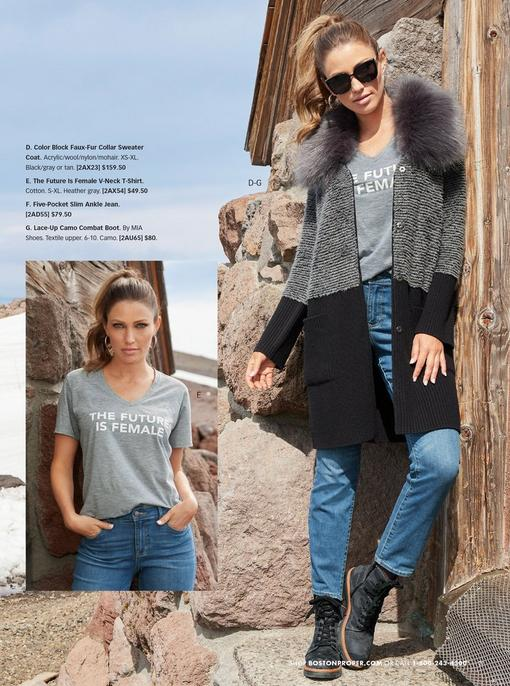 left model wearing gray graphic tee and jeans. right model wearing a gray and black color block faux fur sweater coat, gray graphic tee, jeans, and black lace-up- camo combat boots.