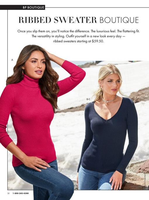 left model wearing a raspberry turtleneck ribbed sweater and jeans. right model wearing a navy v-neck ribbed sweater, silver rhinestone choker necklace, and jeans.