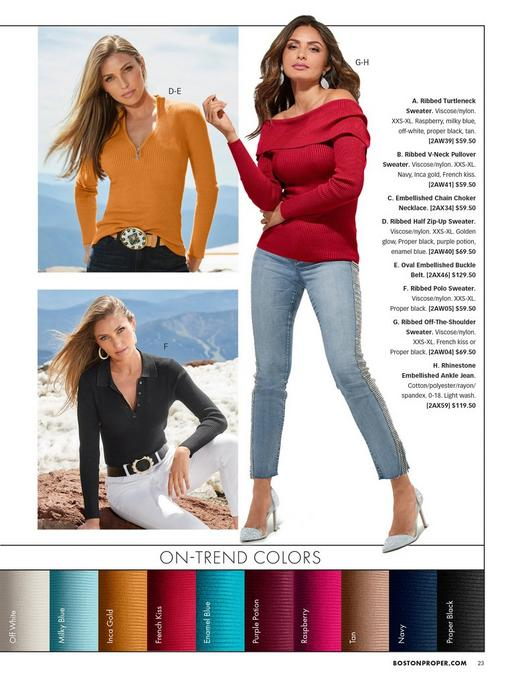 top left model wearing a golden yellow quarter zip ribbed sweater, jewel embellished belt, and jeans. bottom left model wearing a black ribbed polo sweater, pearl hoop earrings, pearl embellished black belt, and white jeans. right model wearing a red ribbed fold-over off-the-shoulder sweater, oval rhinestone earrings, rhinestone embellished jeans, and silver sparkly pumps.