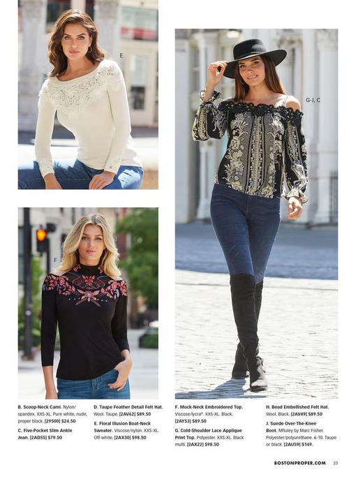 top left model wearing an off-white lace detail long-sleeve top and jeans. bottom left model wearing a long sleeve choker neck cold-shoulder black top with pink floral embroidery. right model wearing a black and white lace embellished off-the-shoulder long sleeve top, black hat, jeans, and black over-the-knee boots.