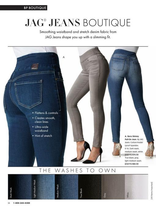 jag pull-on jeans shown in dark wash, gray, and medium wash.