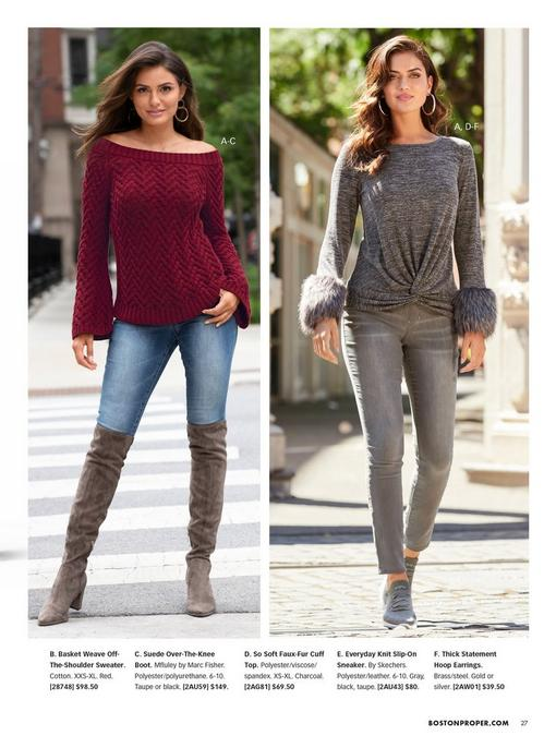 left model wearing a red off-the-shoulder basket weave sweater, jeans, and taupe over-the-knee boots. right model wearing a gray faux-fur cuff top, gray jeans, gray slip-on sneakers, and silver hoop earrings.