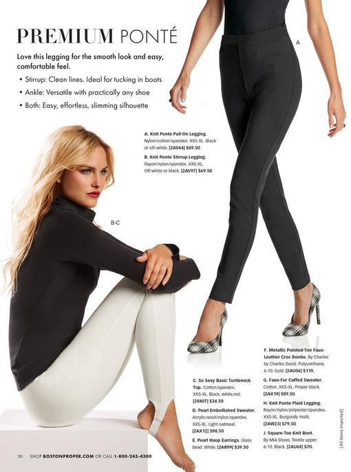 left model wearing a black long-sleeve turtleneck top and white stirrup leggings. right model wearing black leggings and black and white plaid pumps.