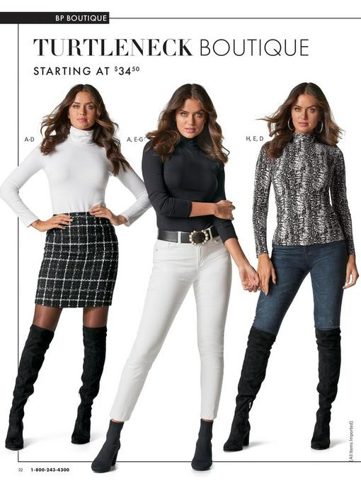 left model wearing a white long sleeve turtleneck top, black and white plaid skirt, sheer black tights, and black over-the-knee boots. middle model wearing a black long-sleeve turtleneck top, black belt with pearls, white jeans, and black heeled booties. right model wearing a black and white snakeskin print long sleeve turtleneck top, jeans, and black over-the-knee boots.