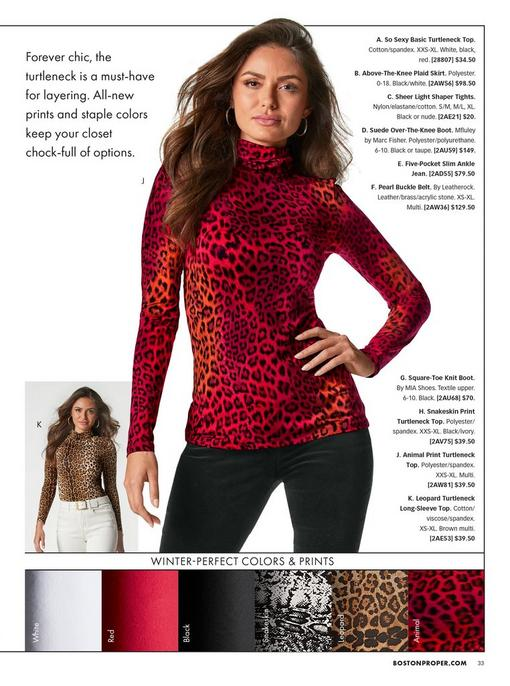 left model wearing a leopard print turtleneck long sleeve top, white belt, and white pants. right model wearing a red leopard print turtleneck long sleeve top and black velvet pants.