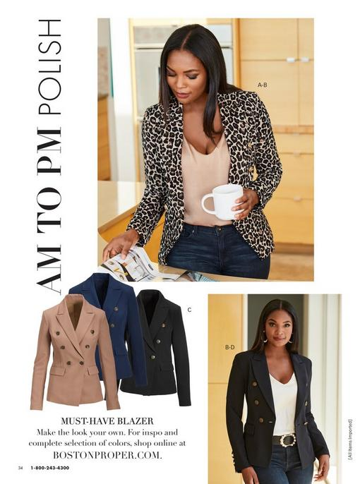 model wearing a leopard print double-breasted blazer, champagne v-neck charm blouse, and jeans. bottom model wearing a black double-breasted blazer, white v-neck charm blouse, pearl embellished black belt, pearl hoop earrings, and jeans. pull-out image of the double-breasted blazer in tan, navy, and black.