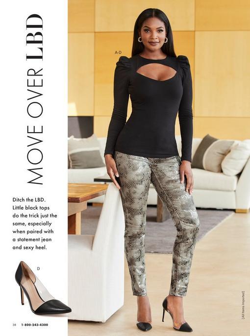 model wearing a black long puff-sleeve keyhole top, metallic snake print jeans, black vinyl heels, and rhinestone hoop earrings. pull-out image of the vinyl heel.