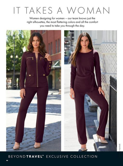 left model wearing a plum chic zip two piece set and nude pumps. right model wearing a plum side-tie top, plum pants and nude pumps.