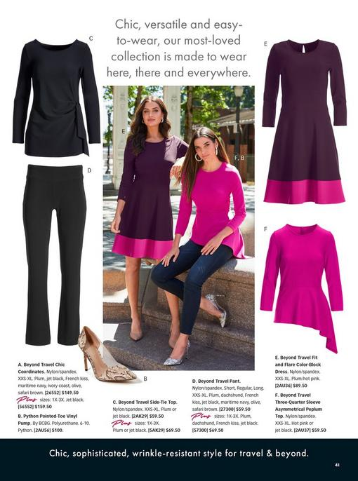 left model wearing a plum and pink color block fit and flare long-sleeve dress and nude pumps. right model wearing a pink three-quarter sleeve asymmetrical peplum top, jeans, pearl hoop earrings, and python vinyl heels. left pull-out images: black long sleeve side-tie top, black pants, and beige python print vinyl heels. right pull-out images: color block fit and flare dress and asymmetrical peplum top.