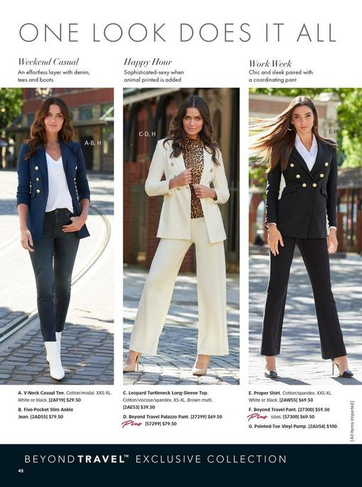 left model wearing a navy double breasted blazer, white v-neck tee, jeans, and white booties. middle model wearing an off-white double-breasted blazer, leopard print turtleneck top, off-white palazzo pants, and nude pumps. right model wearing a black double breasted blazer, white button down shirt, black pants, and black vinyl heels.