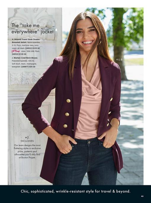 model wearing a plum double-breasted blazer, light pink cowl neck charm blouse, and jeans.