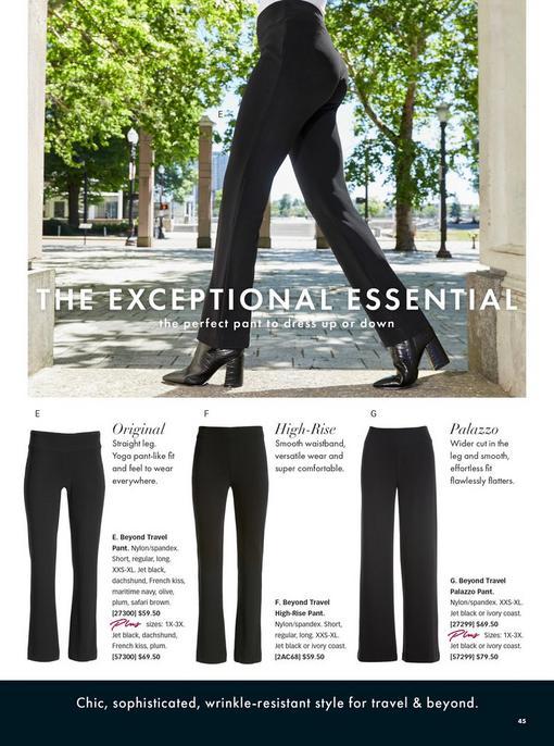 black travel pants styles: original, high-waist, and palazzo pants.