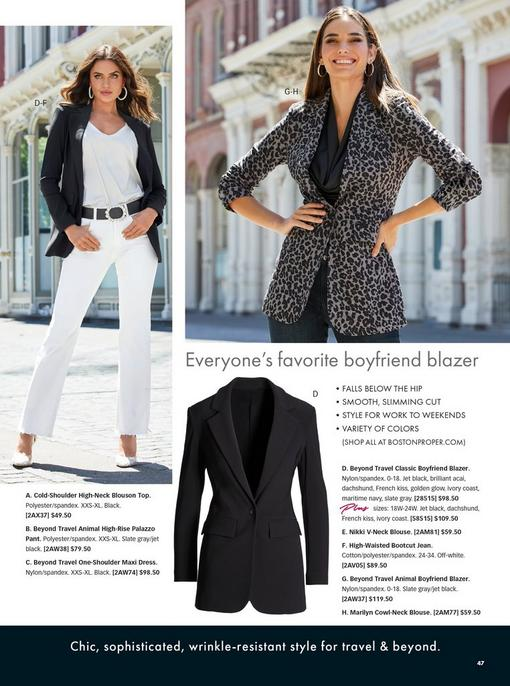 left model wearing a black blazer, pearl hoop earrings, white v-neck charm blouse, black pearl embellished belt, white bootcut jeans, and python print vinyl heels. right model wearing a leopard print blazer, black cowl neck charm blouse, and jeans. pull-out image of the blazer in black.