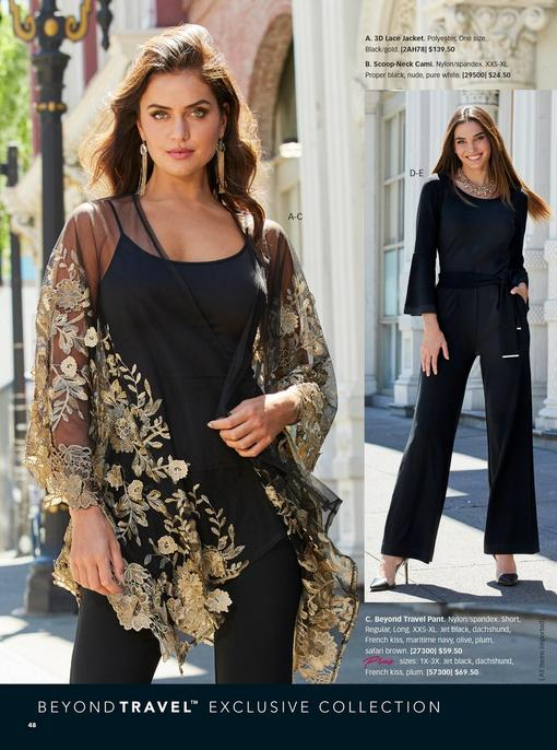 left model wearing a sheer black jacket with gold embroidery, a black tank top, and black pants. right model wearing a black belted flare-sleeve jumpsuit and black vinyl pumps.