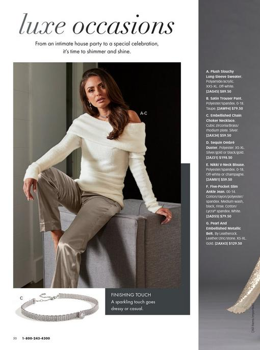 model wearing a plush white fold over off-the-shoulder sweater, taupe satin trousers, and silver embellished chain choker necklace. pull-out image of the choker necklace.