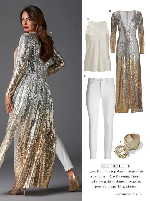 model wearing a silver and gold sequin ombre duster, off-white v-neck sleeveless blouse, white jeans, gold pumps, and a jewel embellished gold belt.