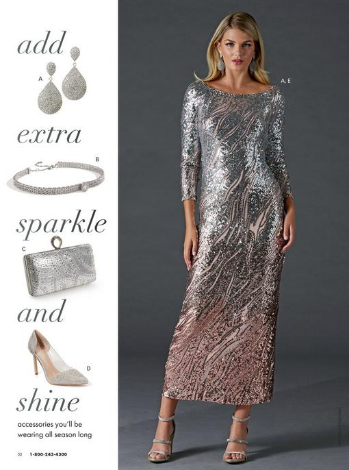 model wearing a silver off-the-shoulder ombre sequin gown, oval rhinestone earrings, and silver strappy heels. pull-out images: rhinestone oval earrings, silver rhinestone choker necklace, silver rhinestone embellished clutch, silver rhinestone pointed-toe vinyl pumps.