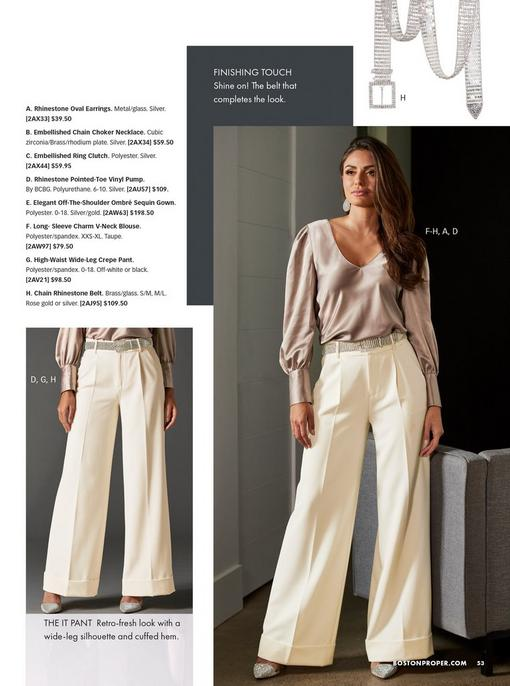 model wearing a taupe long-sleeve charm v-neck blouse, off-white high-waisted wide-leg pants, silver rhinestone belt, silver rhinestone oval earrings, and silver rhinestone pumps. pull-out images of the pants and the belt.