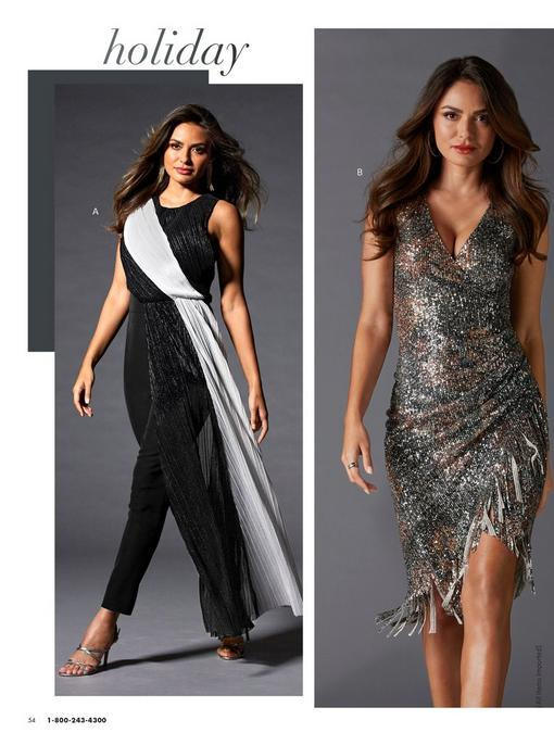 left model wearing a black and silver tule overlay jumpsuit. right model wearing a sequin side-ruched dress with fringe.