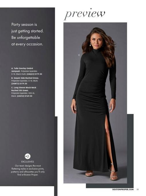 model wearing a black mock-neck long-sleeve side slit maxi dress.