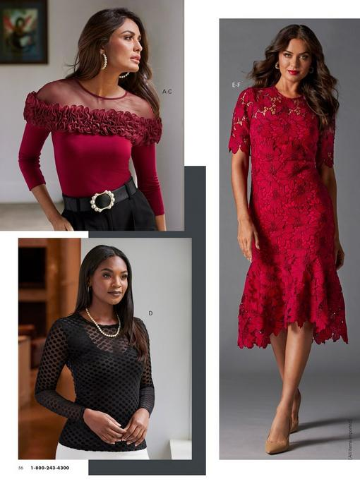 top left model wearing a red illusion long-sleeve ruffle top, pearl embellished black belt, black pants, and pearl hoop earrings. bottom left model wearing a black sheer swiss dot long sleeve top, black tank top underneath, white pants, and a pearl necklace. right model wearing a red floral lace short sleeve dress.