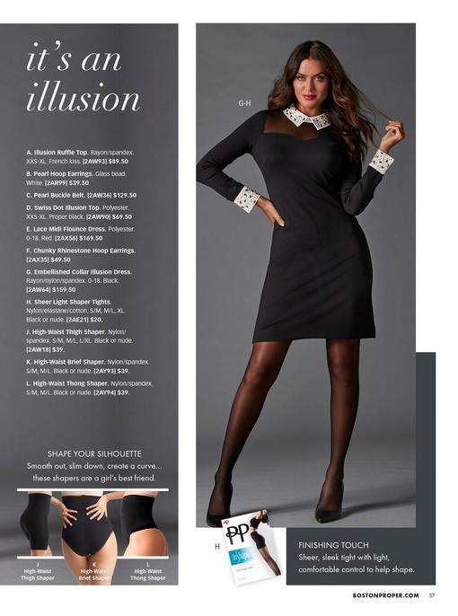 model wearing a black illusion dress with white embellished collar and cuffs, sheer black tights, and black pumps. bottom left pull-out images of black high-waisted thigh shaper, high-waisted brief shaper, and high-waisted thong shaper.