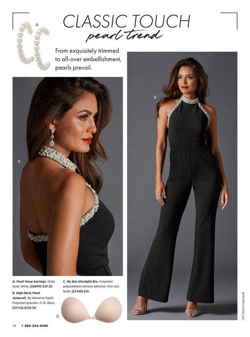 model wearing a black pearl embellished jumpsuit, rhinestone drop earrings, and silver heels. two pull-out images: pearl hoop earrings and nude strapless and backless bra.