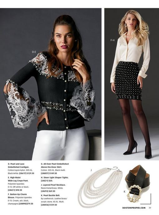 left model wearing a black lace and pearl detail cardigan and white pants. right model wearing a white button-down charm top, pearl embellished black pencil skirt, sheer black tights, and black pumps. pull-out images: layered pearl necklace and black pearl embellished belt.