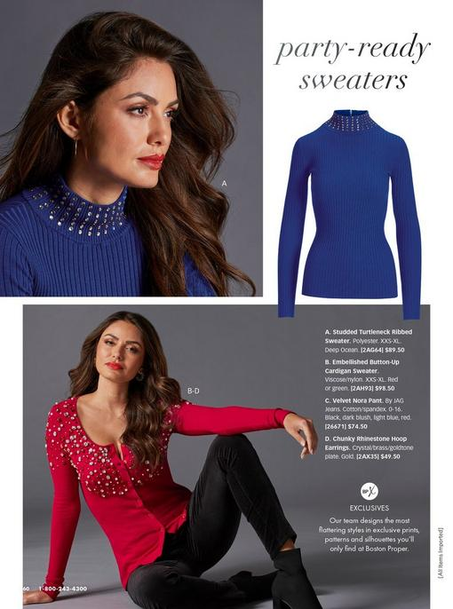 top model wearing a blue studded turtleneck sweater. bottom model wearing a red button-up embellished cardigan sweater, black heeled booties, and black velvet pants.