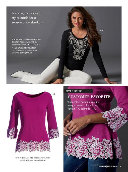 top model wearing a black and white pearl embellished and embroidered sweater, white heeled booties, and white bootcut jeans. bottom panel shows a pink boat-neck lace-trim sweater.