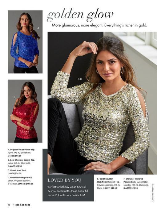 top left model wearing a blue sequin long-sleeve cold-shoulder top. bottom left model wearing same top in red. right model wearing same top in gold with black velvet pants.