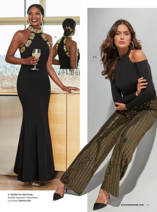 left model wearing a mock-neck gold embellished black gown. right model wearing a black long sleeve cold-shoulder blouson top, gold palazzo pants, and black vinyl heels.