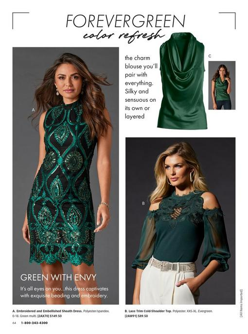 left model wearing a forest green embroidered an embellished sleeveless sheath dress. top right model wearing a forest green cowl neck sleeveless blouse. bottom right model wearing a forest green cold-shoulder long-sleeve lace top, pearl hoop earrings, silver rhinestone belt, and white pants.