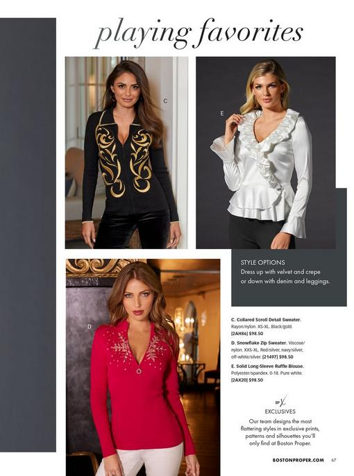 top left model wearing a black zip-up sweater with a gold scroll design. top right model wearing a white long-sleeve ruffle blouse. bottom model wearing a red quarter zip sweater with rhinestone embroidered snowflake design.