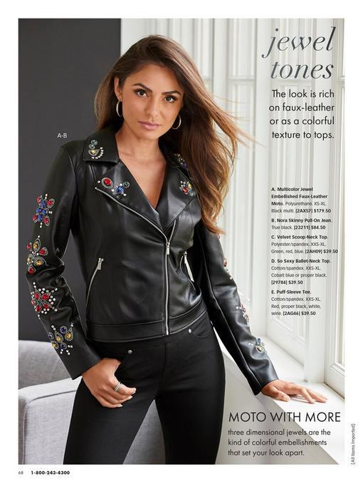 model wearing a black jewel embellished leather jacket and jeans.